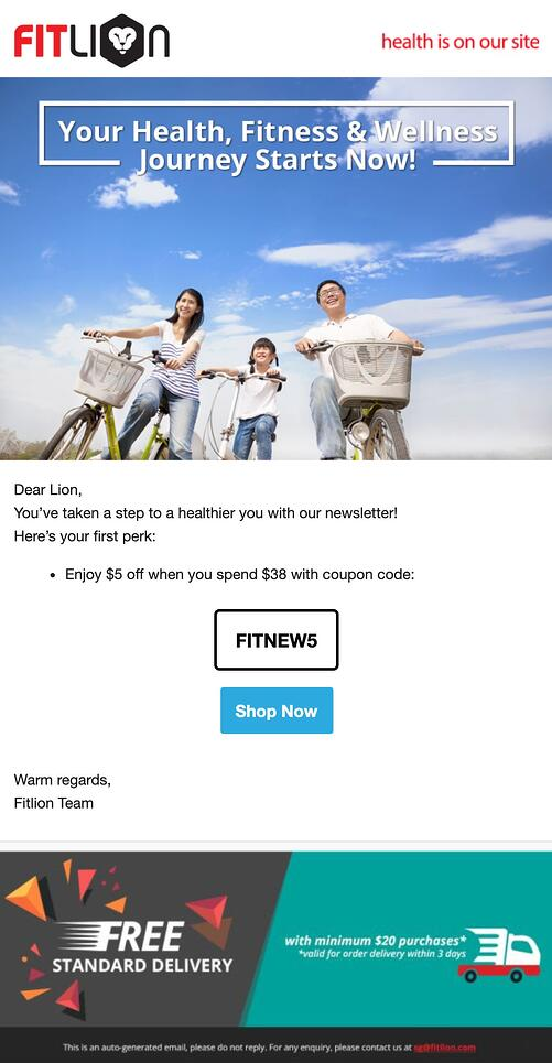 Welcome Email - Fitlion